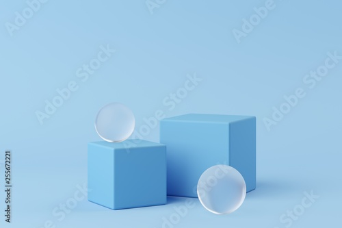 Fotografia  Abstract geometry shape blue color podium with frosted glass on blue background for product