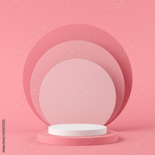 Fototapeta Abstract geometry shape white color and pink color podium on pink color background for product. minimal concept. 3d rendering obraz