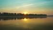 Landscape with sunrise over big river 4k