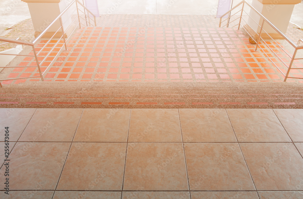 Fototapety, obrazy: stairs walkway down terrazzo flooring outdoor building