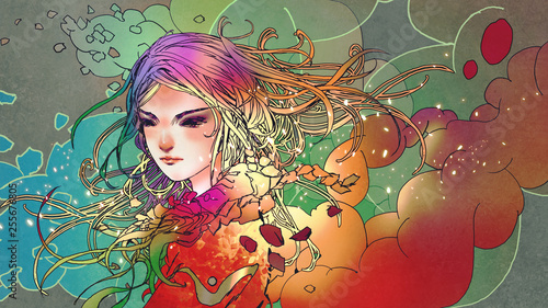 portrait of the beautiful girl in colorful smoke with anime style, illustration painting - 255676805