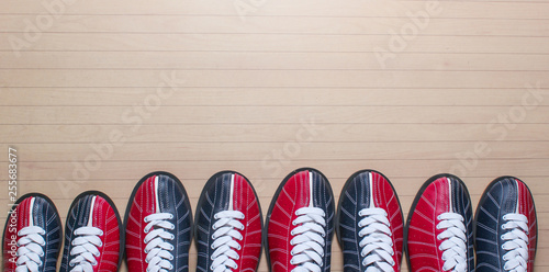 Many bowling shoes on floor Wallpaper Mural