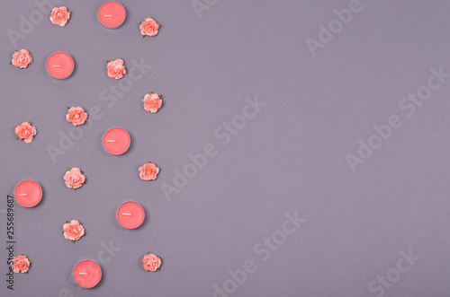 Fotografie, Obraz  Decorative pink flowers composition, minimal background. Flat lay