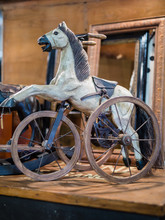 Antique Wooden Game: Rocking Horse With Three Wheels