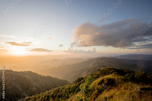 The sea of fog with forests and mountains valley ,beautiful in nature landscape Canvas-taulu