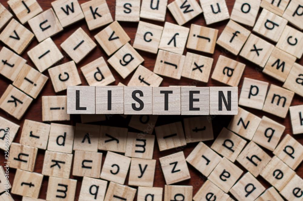 Fototapeta Listen word concept