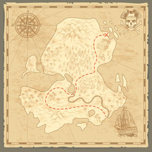 Treasure Island Map. Retro Wallpaper Vintage Islands Map Nautical Travel Background With Compass Ship Pirate Concept