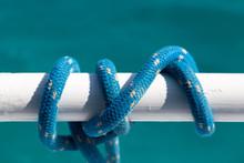 Blue Marine Rope On White Railing