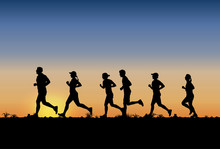 Silhouette Of People Running M...