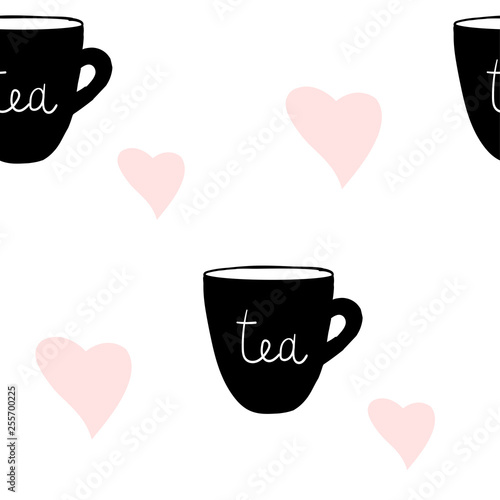 Poster Retro sign Cups tea mug pattern, seamless, tile, background heart love hand drawn style vector doodle design illustrations