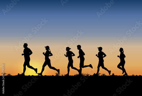 Fototapeta Silhouette of people running marathon, Vector obraz
