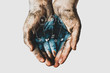 Leinwanddruck Bild - Hands of a child with dirty water. Epidemic, viruses, bacteria in water, diseases of dirty hands. Problems of environmental pollution ecology