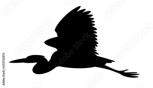 Fotomural heron bird, vector illustration,black  silhouette