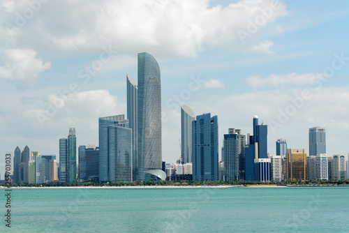 Skyline of downtown Abu Dhabi during daylight and summer time