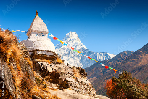 Photo  Buddhist stupa and view of Mount Ama Dablam in Himalayas, Nepal