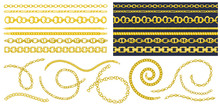 Set Of Brush Patterns With Retro Hand-drawn Sketch Golden Chain On Dark Background. Drawing Engraving Texture. Great Design For Fashion, Textile, Decorative Frame, Yacht Style Card.