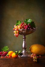 Still Life With Grapes, Tangerines And Melon