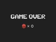 Game Over Text And Red Skull V...