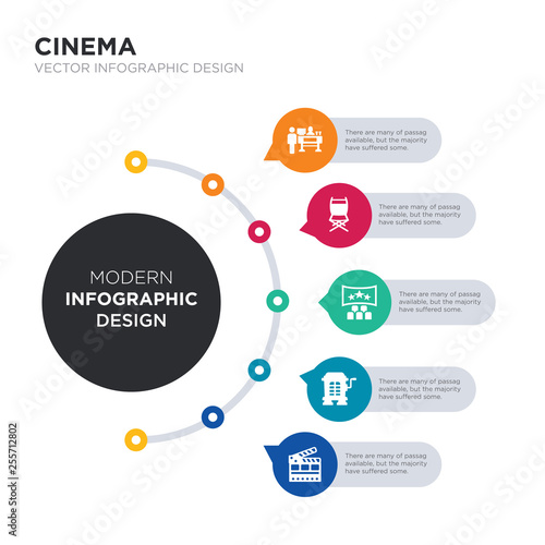 modern business infographic illustration design contains cinema flapper, cinema hurdy gurdy, cinema screen, seats, snack bar simple vector icons Wallpaper Mural