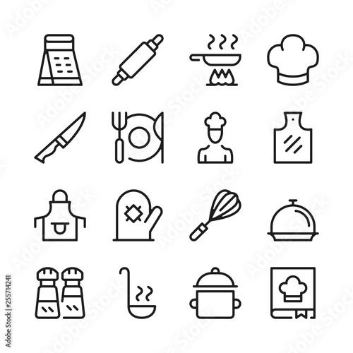 Vászonkép Cooking line icons set