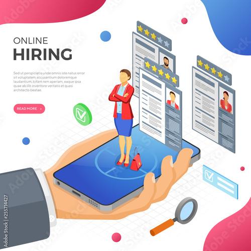 Fotografía  Online Isometric Employment and Hiring Concept
