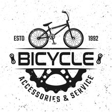 Bicycle Store Vector Round Emblem, Badge Or Logo