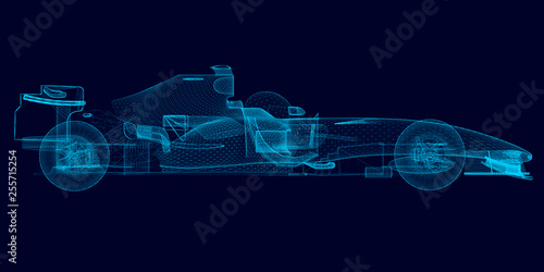 La pose en embrasure F1 Wireframe of a polygonal racing car of blue lines on a dark background. 3D. Side view. Vector illustration