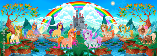 Fotobehang Kinderkamer Groups of unicorns and pegasus in a fantasy landscape