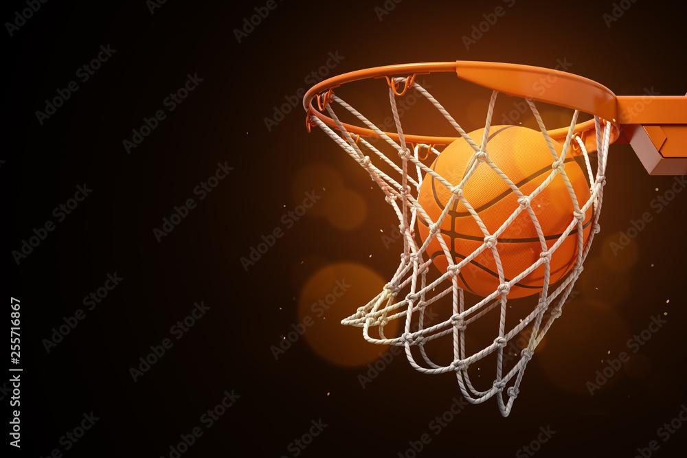 3d rendering koszykówka w sieci na ciemnym tle.