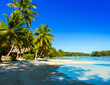 View of the sandy beach, Moorea island, French Polynesia. Copy space for text.