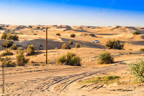 Jeep safari, view of the desert landscape, Dubai, United Arab Emirates.
