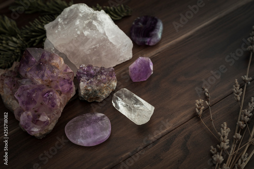 Selection of Crystals and Stones on a Wooden Surface with Foliage Wallpaper Mural