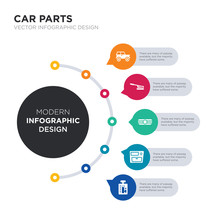 Modern Business Infographic Illustration Design Contains Car Gearbox, Car Glove Compartment, Car Grille Or Radiator Grille, Handbrake, Hard Top Simple Vector Icons. Set Of 5 Isolated Filled Icons.