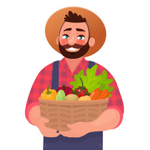 Happy Male Farmer Holding A Basket With Vegetables. Useful And Tasty Rustic Foods. Design Element Of A Private Farm