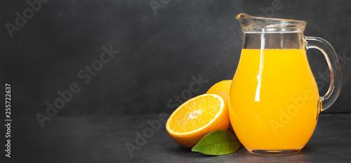 Acrylic Prints Juice Fresh orange juice in the glass bottle