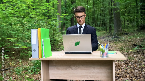 Photo  Ecologist creating eco saving project, sitting in forest, deforestation concept