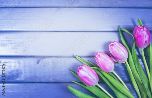 Bukiet różowych tulipanów z ramką na napis.