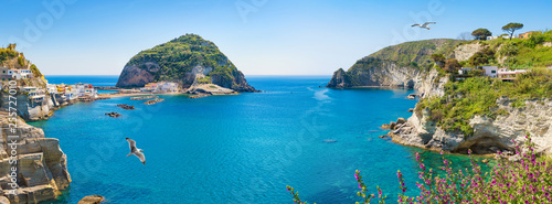 Photo Stands Blue sky Panoramic collage of neighborhood of small village Sant'Angelo, Ischia Island, Italy.