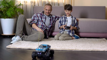Kid Learning To Drive Car On Radio Control, Expensive Gift From Sunday Father