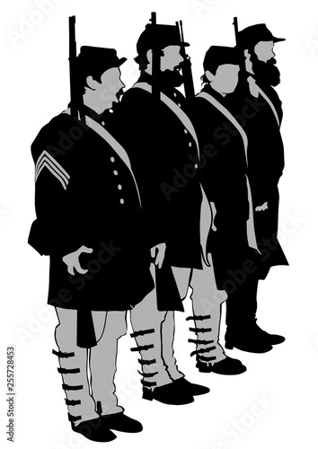 American soldiers in uniform of civil war times on white background Fotobehang