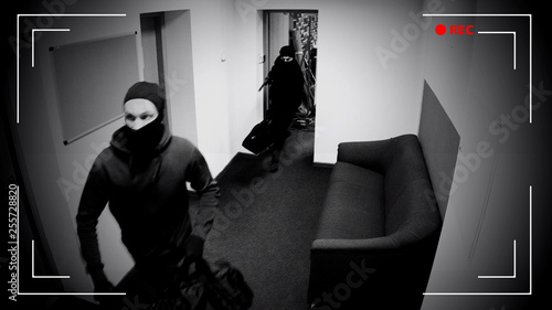 Valokuvatapetti Undefined thieves escaping from place of crime, armed robbery, CCTV effect