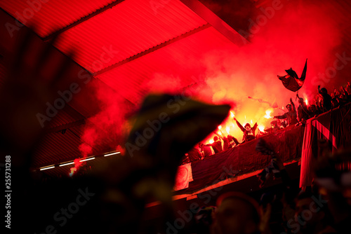 Cadres-photo bureau Dragons football hooligans with mask holding torches in fire