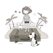Happy Travel. Cute Cartoon Girl, Dog And Suitcases. Bon Voyage