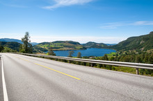 Open Road. Empty Road With No Traffic In Countryside. Rural Landscape. Ryfylke Scenic Route. Norway. Europe.