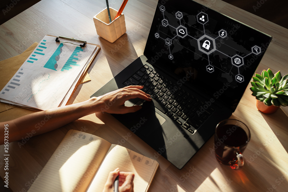 Fototapeta Data security, cyber protection, information privacy concept on device screen.