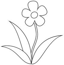 Simple Flower Clipart, Colorin...