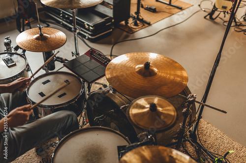 Fotografie, Tablou Drummer recording drum sounds, Sound recording studio.