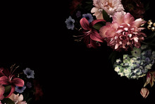 Floral Card. Vintage Flowers.