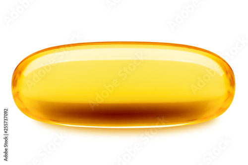 Valokuva  Fish oil pill, omega 3, isolated on white background, clipping path, full depth