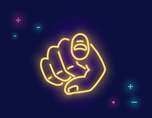 We Want You Human Hand With The Finger Pointing Or Gesturing Towards You In Neon Light Style Isolated On Dark Purple Background